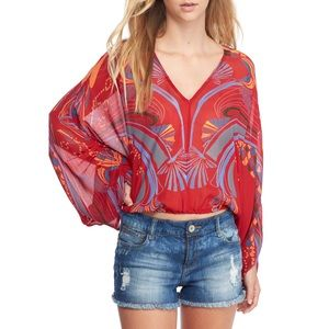 NWT Free People Beneath the Sea Sheer Blouse Red